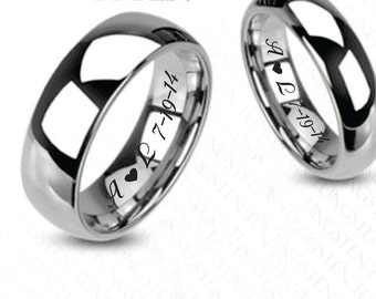 Engraved Rings, Promise Rings, Personalized Wedding Bands, Tungsten High Polished Finish Ring Set Custom Engraved Free, Custom Ring Set