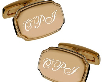 Personalized Cufflinks, Engraved Cufflinks, Gold Cufflinks, Monogrammed Cufflinks, Groomsmen Gifts, Wedding Favors, Buy 6 Get 7th Free