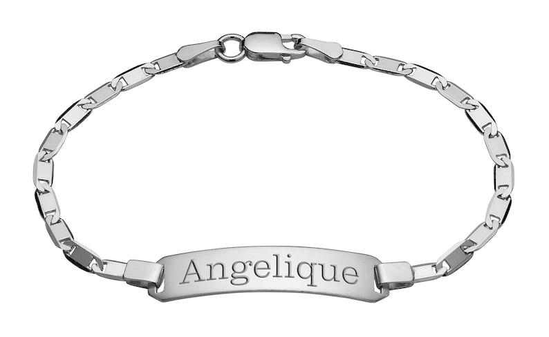 Children/'s Bracelet Personalized Sterling Silver Box Link Baby ID Bracelet Custom Engraved Free Kid/'s Bracelet