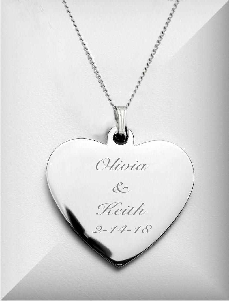 Personalized Necklace Silver Heart Necklace Engraved Heart image 1