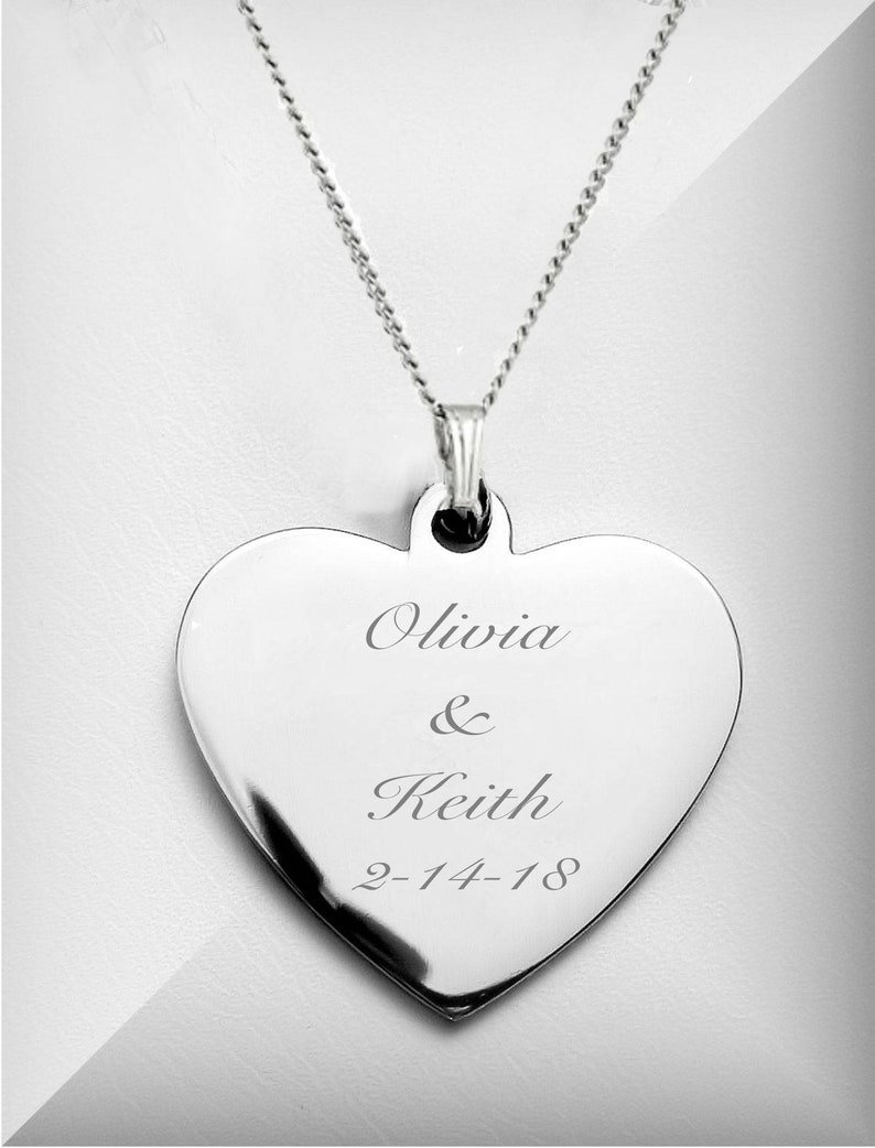 Personalized Necklace Silver Heart Necklace Engraved Heart image 0