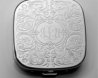 Personalized Pill Box, Engraved Pill Case, Monogrammed Pocket Pill Holder, Mirror Silver Plated Paisley Cover with 3 Compartment Engraved