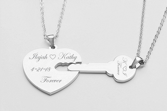 1b1a73e292 Couples Jewelry His And Hers Necklaces Silver Heart & Key | Etsy