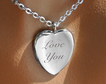 Personalized Heart Necklace, Elegant Silver Heart Necklace, Engraved Necklace, Silver Heart Pendant, Bridesmaid Gift, Valentine's Day Gift