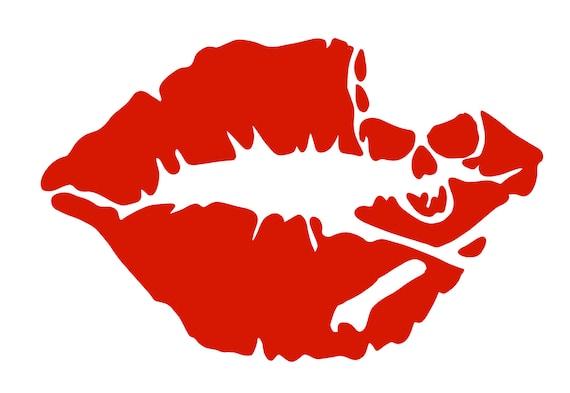 Skull Lips Skull Kiss Lips Kiss Svg File Drawn Clipart Etsy