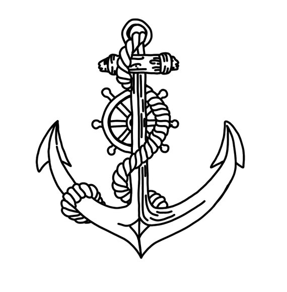 Hand Drawn Anchor With Rope And Ship Wheel Helm Anchor Svg Etsy