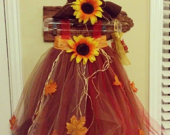 Girls scarecrow Halloween costume and accessories. Made to order in any size.