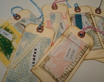 """7 BOOKMARKS-""""Enjoy"""" Gift Tags-Layered with book pages/decorative paper/fabric & Quotes"""