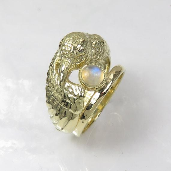 14k Gold Raven Ring With Moonstone Pagan Wedding Ring Double Ring Engagement And Wedding Ring Set Bird Ring Original Wedding Ring