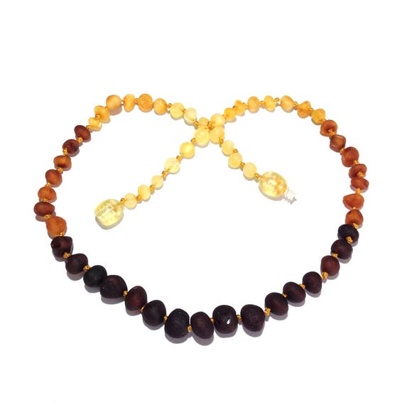 48188bfee0252 Amber Necklace Jewelry & Baby Teething Store, Raw Baltic Amber, Rainbow,  Mixed, Genuine, Love Amber, Child, Safety Knotted, Ombre, Gift
