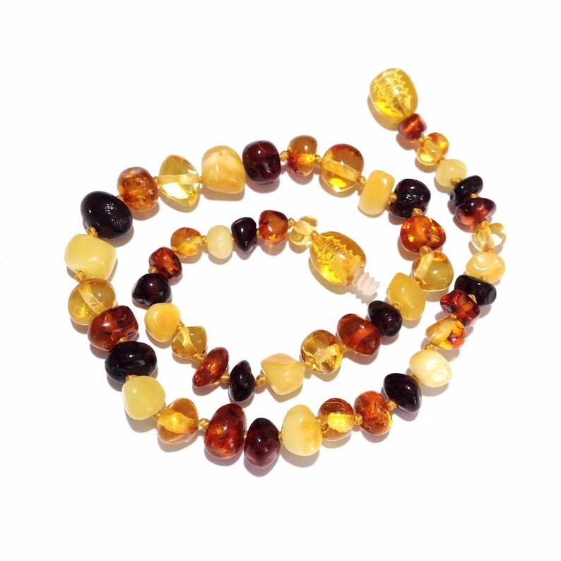 b2ac2f7088fe5 Amber Necklace Jewelry & Baby Teething Store, Mixed Baltic Amber, Genuine,  Polished, Love Amber, Child, Pebble Beach, Safety Knotted, Surfer