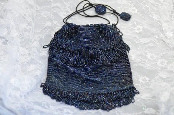Vintage Iridescent Navy Blue Mini Bead Drawstring