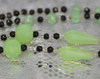 Black and Green Flourescent Glass Bead Vintage Necklace