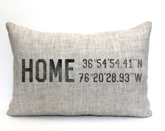 """housewarming gift, longitude latitude pillow, christmas gift, wedding gift, coordinates pillow, gift for her, mother's day gift """"The Home 2"""""""