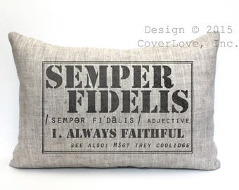 "semper fidelis definition pillow, marine gift, military retirement gift, us marine gift, us marine retirement gift, - ""Semper Fidelis"""
