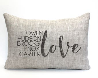 """family pillow, names pillow, personalized pillow, grandparent gift, custom pillow, name pillow, anniversary gift """"The Love Names"""""""