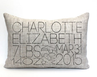 """baby gift, baby pillow, baby shower gift, child's name pillow, personalized pillow, birthday pillow, christmas gift - """"The Charlotte"""""""