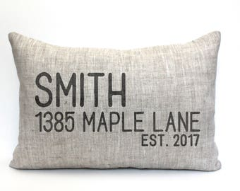 """housewarming gift, address pillow, new home gift, wedding gift, new homeowners gift, location pillow, custom pillow """"The Smith"""""""