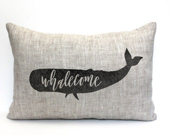 """whale pillow, whalecome pillow, farmhouse pillow, farmhouse decor, animal pillow, """"The Whale"""""""