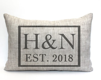 """initials pillow, custom pillow, name pillow, mother's day gift, valentine gift - """"The H and N"""""""