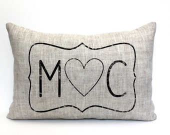 """initials pillow, custom pillow, name pillow, mother's day gift, valentine gift - """"The M heart C"""""""