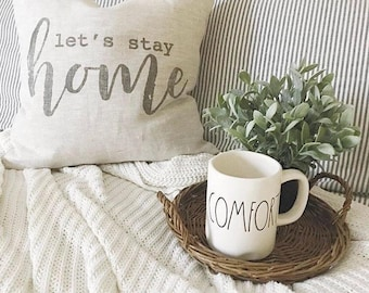 """let's stay home pillow, throw pillow, word pillow, phrase pillow, christmas gift - """"Let's Stay Home"""""""