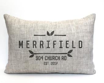 "housewarming gift, address pillow, new home gift, wedding gift, new homeowners gift, location pillow, custom pillow ""The Merrifield"""