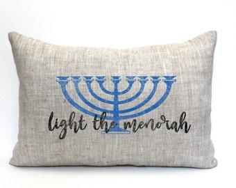 "menorah pillow, hanukkah decor, chanukah decor, light the menorah, jewish holiday - ""light the menorah"""