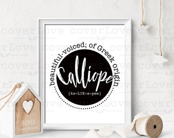 """baby gift, name definition download, personalized gift, digital download, nursery decor, nursery print, baby shower gift, """"Calliope"""""""