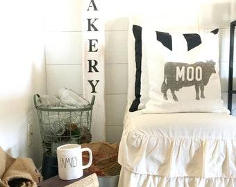 "cow pillow, moo pillow, farmhouse pillow, farmhouse decor, animal pillow, ""The Moo"""