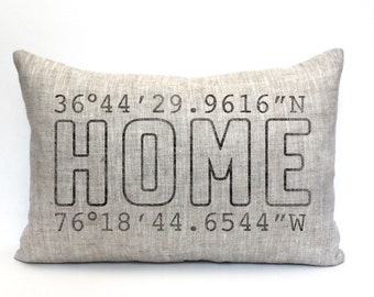 """mothers day gift, housewarming gift, longitude latitude pillow, wedding gift, coordinates pillow, gift for her, mother's day gift """"The Home"""""""