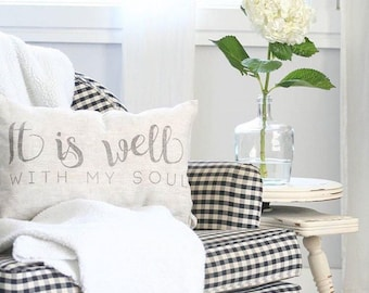 """it is well with my soul pillow, throw pillow, word pillow, phrase pillow, mother's day gift - """"It Is Well With My Soul"""""""