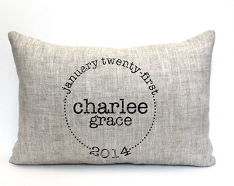 """baby gift, baby pillow, child's name pillow, personalized pillow, birthday pillow, christmas gift- """"The Charlee"""""""