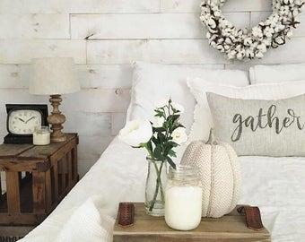 "gather pillow, word pillow, housewarming, custom pillow, throw pillow, new home gift - ""gather"""