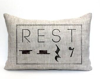 """rest pillow, music teacher gift, music lover gift, music pillow, music gift, music room decor, music room pillow """"The Rest"""""""