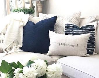 """redeemed pillow, housewarming gift, farmhouse pillow, new home gift, christmas gift - """"redeemed"""""""