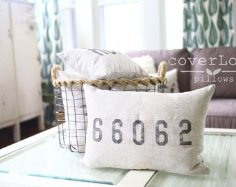 """mothers day gift, zip code pillow, housewarming gift, map pillow, personalized pillow, wedding gift, state pillow - """"The Zip Code"""""""