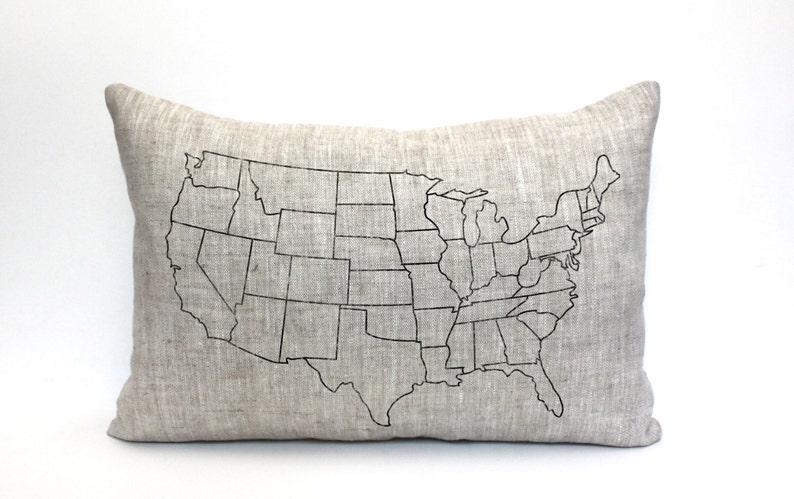 Map Pillow Usa Map Gift Wedding Gift Housewarming Gift Map Etsy