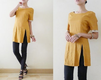 1f84d26beb8 70s Plain Mustard Yellow tunic rayon cotton top,summer long blouse with  high slit,short sleeve with polka dot details,minimalist,zakka,Small