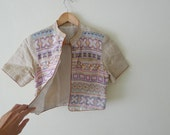 delicalted vintage cropped blazer, jacket,pastel geometric embroidery,short sleeve,bell buttons,hand woven, organic cotton, mandarin collar