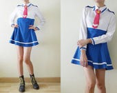 School Uniform Cosplay Dress, Costume white and blue micro mini MOD dress, removable pink necktie,long sleeve,flare skirt,lolita, Small