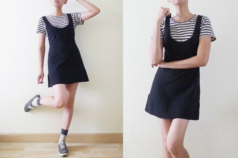 3d5dec071d2a CUTE 90s VTG plain black micro mini overall dress