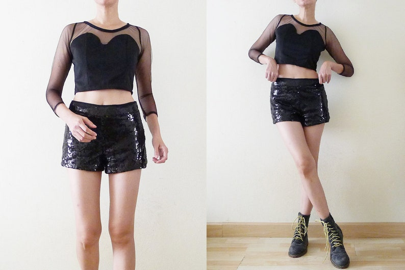 7db0a98ef9 90s Black High waisted sequin shorts hot pantsdisco | Etsy