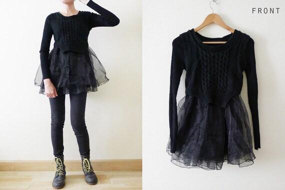 VTG Black Knitted sweatshirt with cute chiffon net