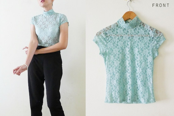 lace trim Peter pan collar and long sleeves Sz L Vintage 70\u2019s  80\u2019s sea foam green floral blouse  button front shirt with puff sleeves