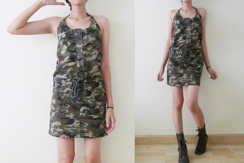 00bf08bf3e310 VTG 90s camouflage halter mini jumper dress jumpsuit summer | Etsy