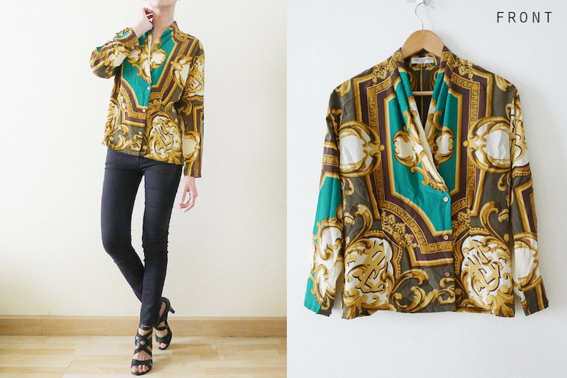 5f21b0958683da 80s Japanese green brown and gold baroque style blousedouble
