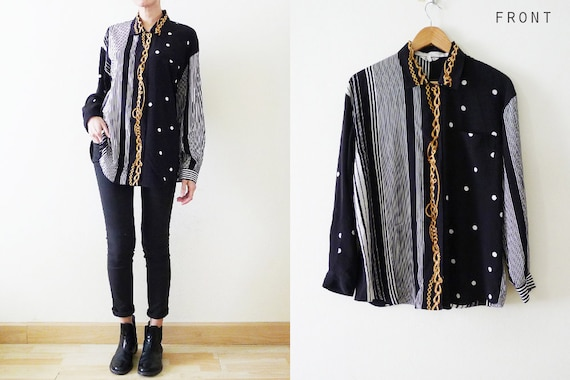 black white and gold Cute 80s Japanese Vintage Oversize Polkadot Stripes and Gold Chains printed baroque style blouse S-M-L Versace Style