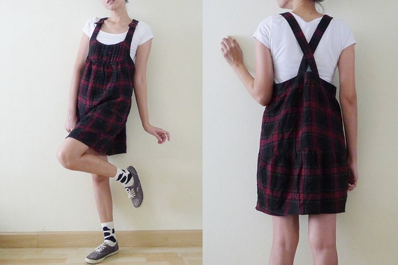 ce95eefc590 VTG black and red TARTAN overall mini dress dungarees