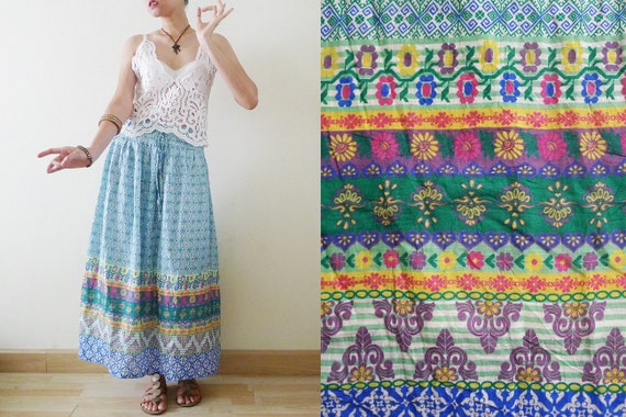 90s Colorful Indian Style Gauze cotton maxi skirt,